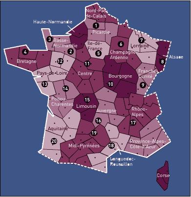 carte du réseau SF en France